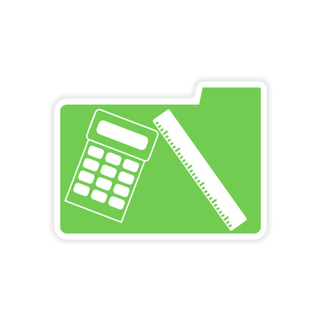 calc: paper sticker on white  background calculator folder Illustration