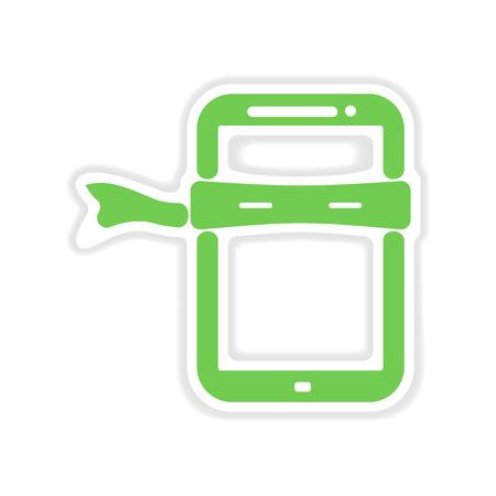 paper mask: paper sticker on white  background mobile phone Mask Illustration