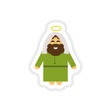 israel people: Set of paper stickers on white background  father of Jesus