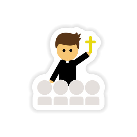 cleric: paper sticker on white background  Christian priest Illustration