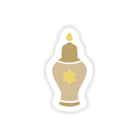 channukah: paper sticker on white background  Hanukkah candles
