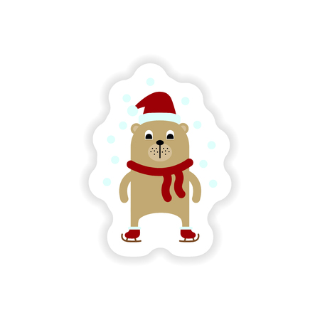 fur cap: paper sticker on white background   Bear skating