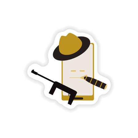 murderer: paper sticker on white background  mobile phone gentleman