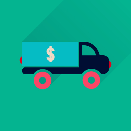 driver license: Flat icon with long  shadow  car transportation money Illustration