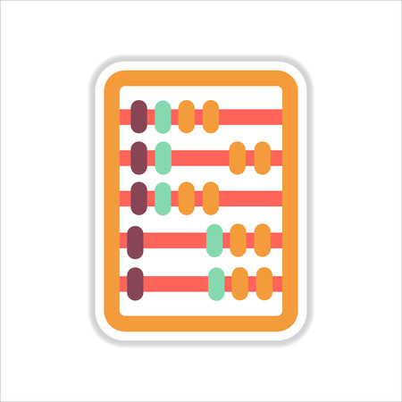 countable: paper sticker on white  background  abacus mathematics
