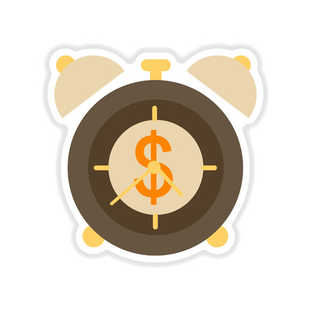 capitalization: paper sticker on white  background time is money Illustration