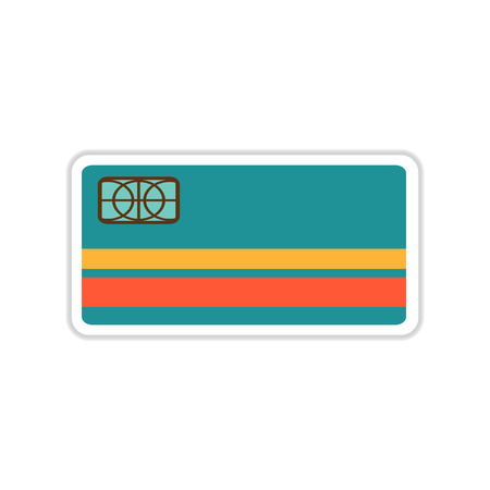 mastercard: paper sticker on white  background bank card