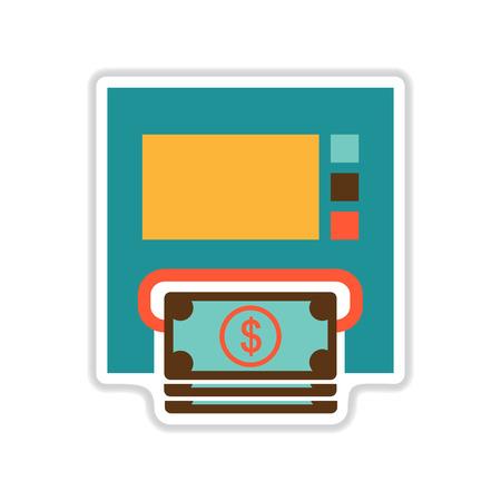 bankomat: paper sticker on white  background ATM money Illustration