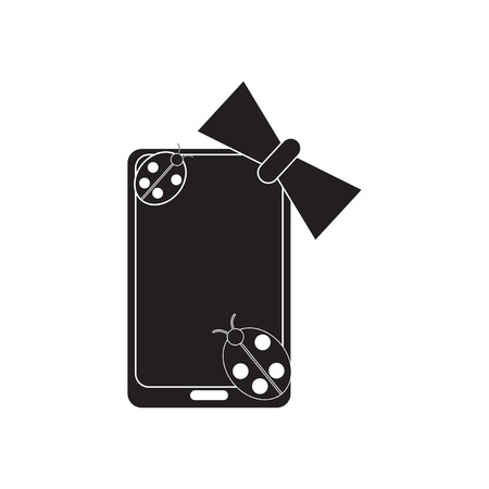 touchphone: Flat icon in black and  white mobile phone