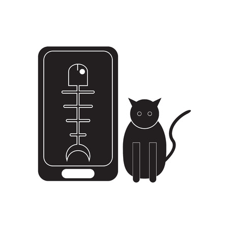 cat call: Flat icon in black and  white mobile phone