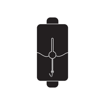 cell charger: Flat icon in black and  white mobile phone battery Illustration
