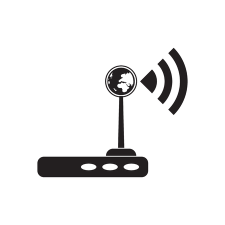 modem: Flat icon in black and white  Wi fi modem
