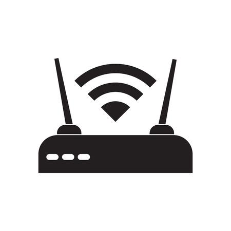 fi: Flat icon in black and white  Wi fi modem
