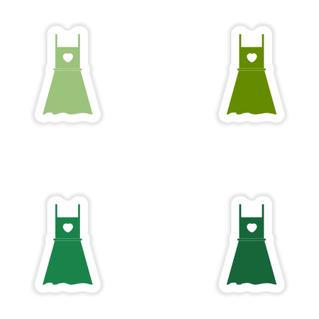 summer dress: Set of paper stickers on white background   summer dress Illustration