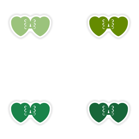 related: Set of paper stickers on white background  related heart