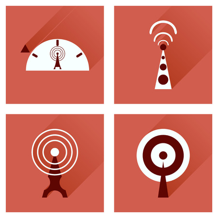 modem: Concept of flat icons with long shadow   Wi fi modem Illustration