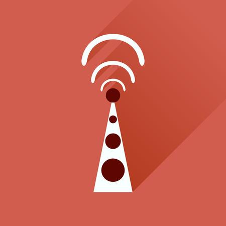modem: Flat icon with long shadow   Wi fi modem