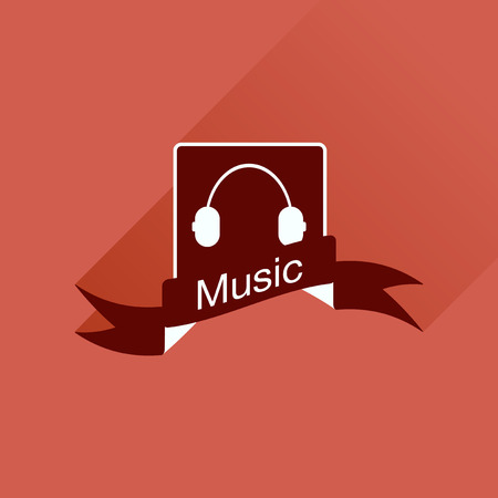 ear phones: Flat icon with long shadow  mobile phone music Illustration