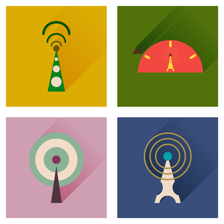 hub computer: Concept of flat icons with long shadow   Wi fi modem Illustration