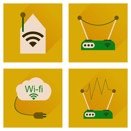 wireless lan: Concept of flat icons with long shadow  Wi Fi