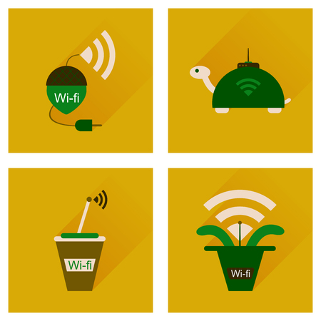 wi fi: Concept of flat icons with long shadow  Wi Fi