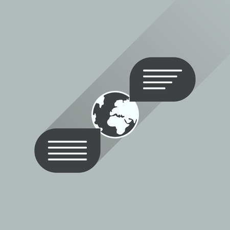 global communication: Flat icon with long shadow global communication