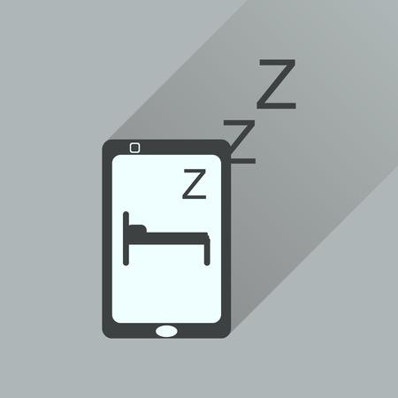 sleeps: Flat icon with long shadow  mobile phone sleeps Illustration