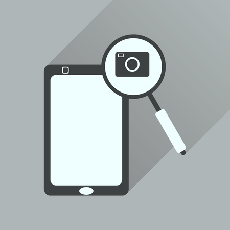 correspondent: Flat icon with long shadow  mobile phone camera
