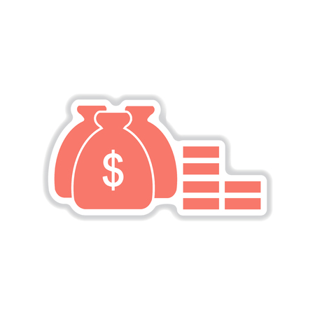 money bags: paper sticker on white  background  money bags