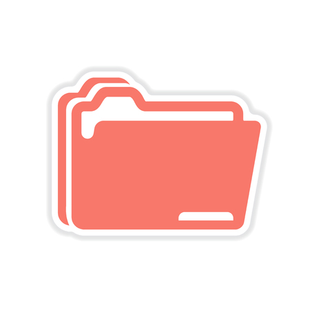 folder icon: paper sticker on white  background folders for documents