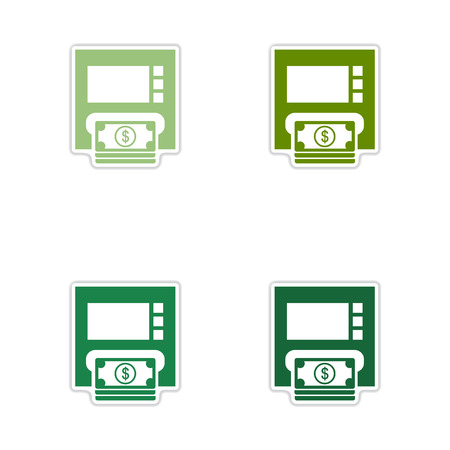 bankomat: Set of paper stickers on white  background ATM money