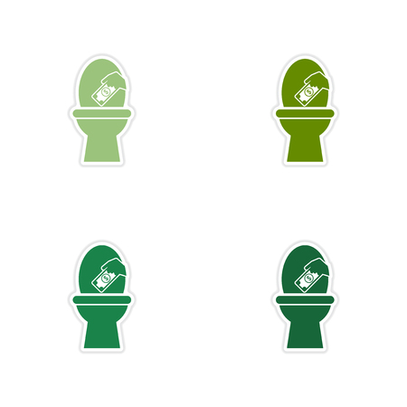 watercloset: Set of paper stickers on white  background money toilet