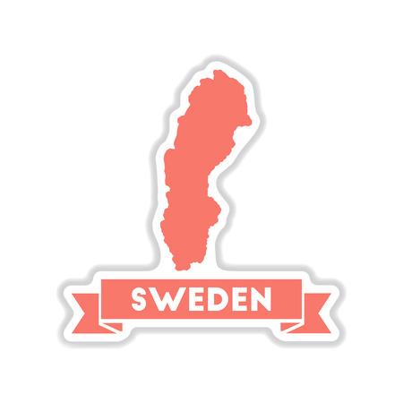 sweden map: paper sticker on white  background Sweden map