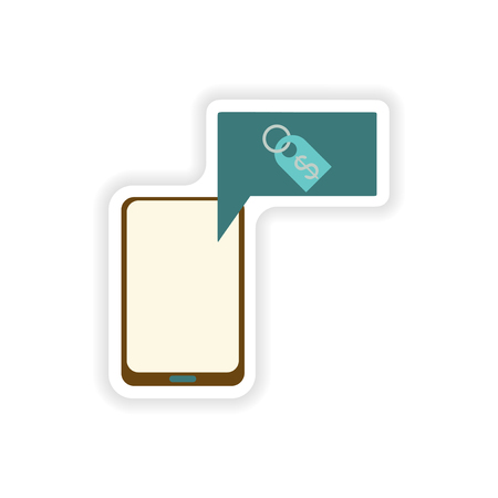 charges: paper sticker on white background  mobile phone money Illustration