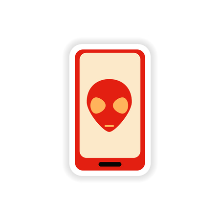 paper sticker on white background   mobile phone alien Illustration