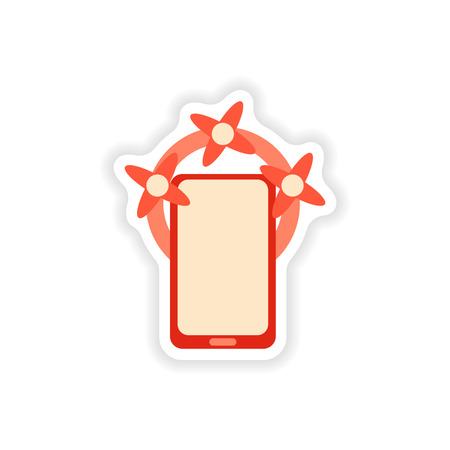 touchphone: paper sticker on white background  mobile phone