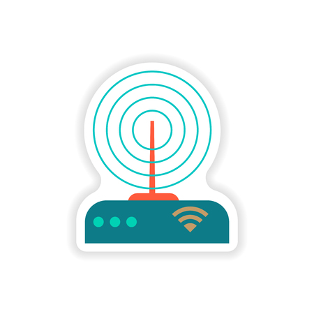 wi fi: paper sticker on white background   Wi Fi router Illustration
