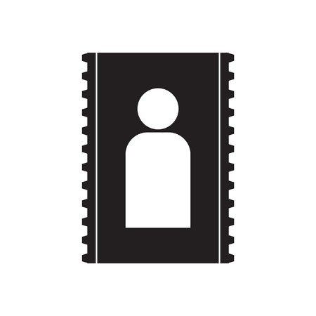 mobile operators: Flat icon in black and  white contact Illustration