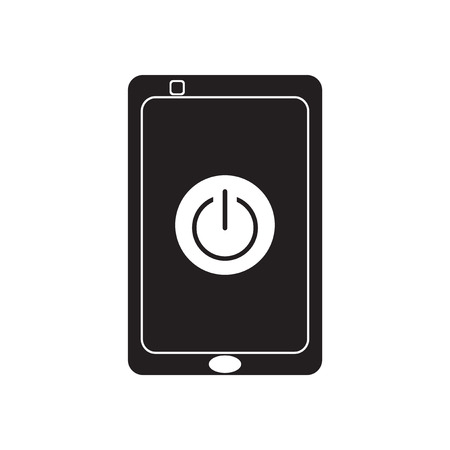 communicator: Flat icon in black and  white mobile phone switched off Illustration