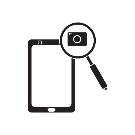 correspondent: Flat icon in black and  white mobile phone camera