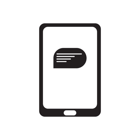 touchphone: Flat icon in black and  white mobile phone message