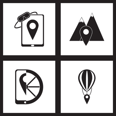 geolocation: Concept flat icons in black and  white mobile geolocation