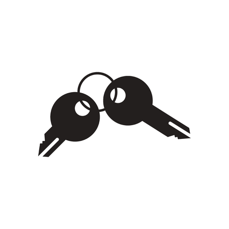 black and white: Flat icon in black and white  keys Illustration