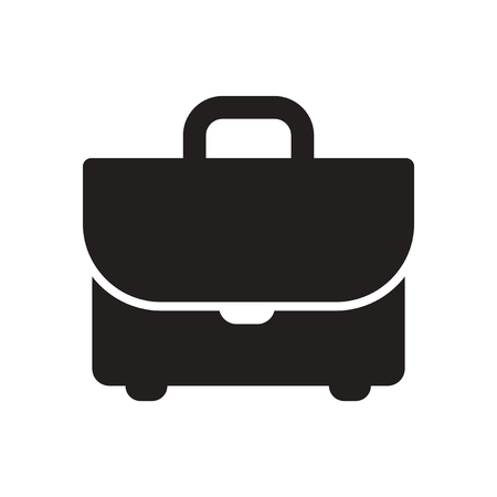 attache: Flat icon in black and white  business suitcase Illustration