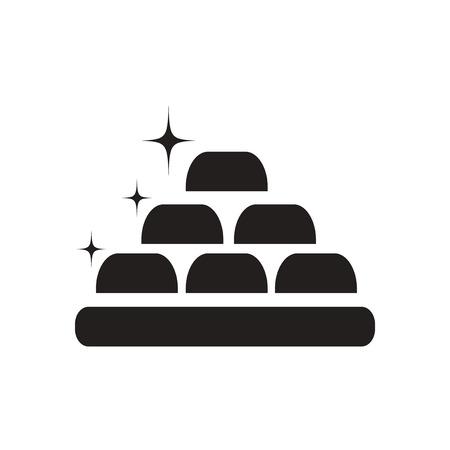 bullion: Flat icon in black and  white gold bullion