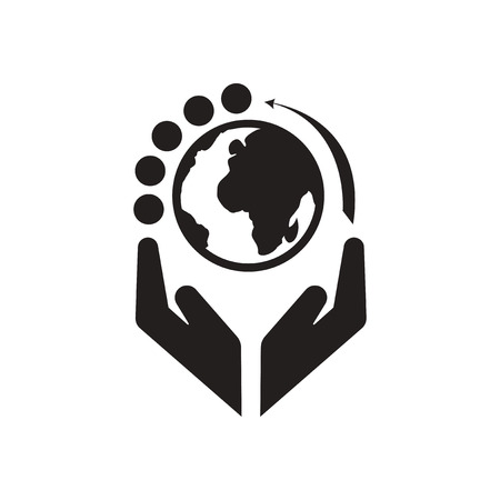 earth hands: Flat icon in black and  white Earth hands Illustration