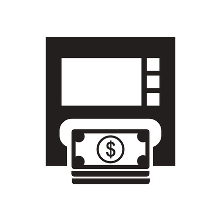 bankomat: Flat icon in black and  white ATM money