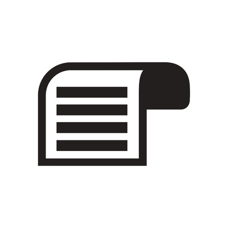 black and white: Flat icon in black and  white document Illustration