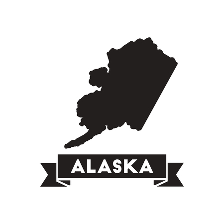 alaska map: Flat icon in black and  white Alaska map
