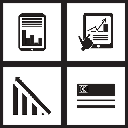 black economy: Concept flat icons in black and  white economy Illustration